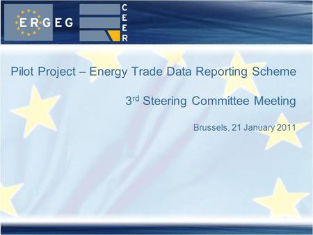 Pilot Project – Energy Trade Data Reporting Scheme 3 rd Steering Committee Meeting Brussels, 21 January 2011.