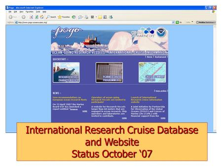 International Research Cruise Database and Website Status October '07.
