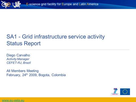 E-science grid facility for Europe and Latin America www.eu-eela.eu SA1 - Grid infrastructure service activity Status Report Diego Carvalho Activity Manager.