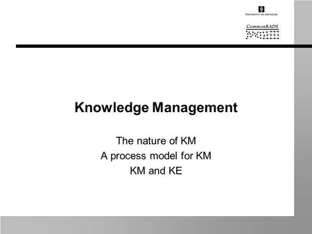 Knowledge Management The nature of KM A process model for KM KM and KE.