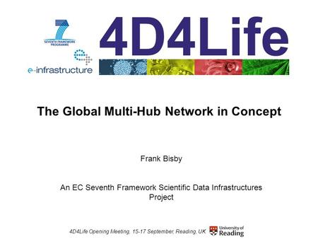 4D4Life Opening Meeting, 15-17 September, Reading, UK The Global Multi-Hub Network in Concept Frank Bisby An EC Seventh Framework Scientific Data Infrastructures.