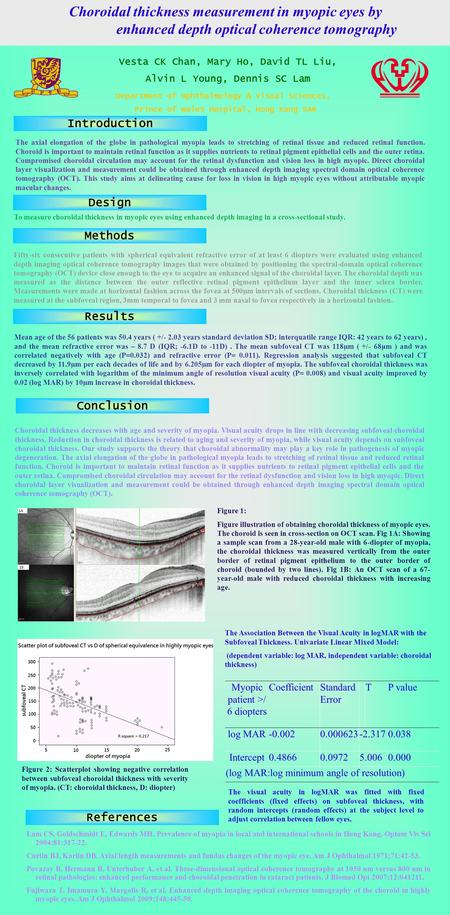 Vesta CK Chan, Mary Ho, David TL Liu, Alvin L Young, Dennis SC Lam Choroidal thickness measurement in myopic eyes by enhanced depth optical coherence tomography.