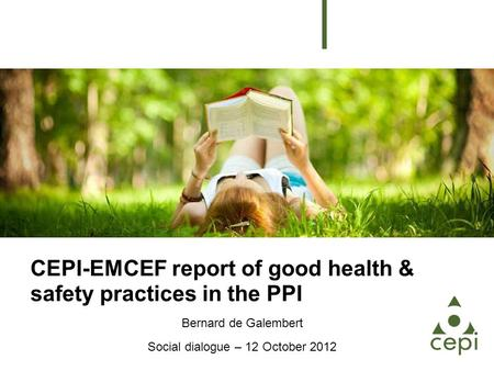 CEPI-EMCEF report of good health & safety practices in the PPI Bernard de Galembert Social dialogue – 12 October 2012.
