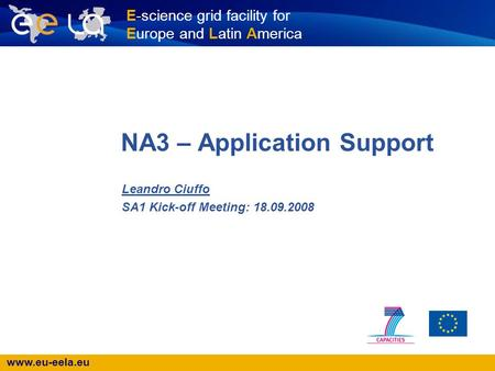 Www.eu-eela.eu E-science grid facility for Europe and Latin America NA3 – Application Support Leandro Ciuffo SA1 Kick-off Meeting: 18.09.2008.