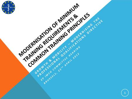 MODERNISATION OF MINIMUM TRAINING REQUIREMENTS & COMMON TRAINING PRINCIPLES 1 GROWTH & MOBILITY – MODERNISING THE PROFESSIONAL QUALIFICATIONS DIRECTIVE.