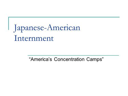 "Japanese-American Internment ""America's Concentration Camps"""