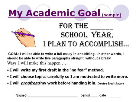 essay about goals and expectations