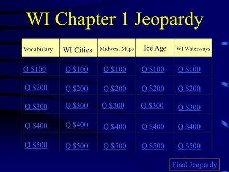 WI Chapter 1 Jeopardy Vocabulary WI Cities Midwest Maps Ice Age WI Waterways Q $100 Q $200 Q $300 Q $400 Q $500 Q $100 Q $200 Q $300 Q $400 Q $500 Final.