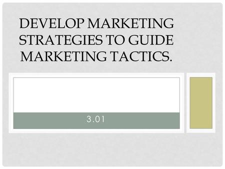 3.01 DEVELOP MARKETING STRATEGIES TO GUIDE MARKETING TACTICS.
