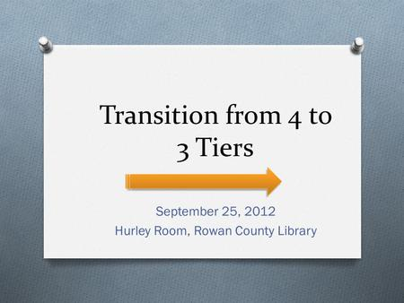Transition from 4 to 3 Tiers September 25, 2012 Hurley Room, Rowan County Library.