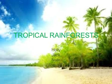 TROPICAL RAINFORESTS Holly Jack Nate Ryan Z.. Botany Botanist- Jack.