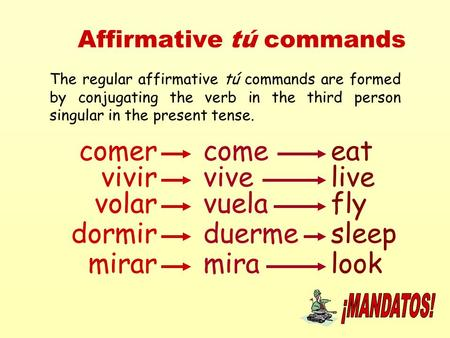 Affirmative tú commands The regular affirmative tú commands are formed by conjugating the verb in the third person singular in the present tense. comercomeeat.