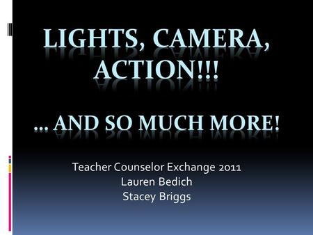 Teacher Counselor Exchange 2011 Lauren Bedich Stacey Briggs.