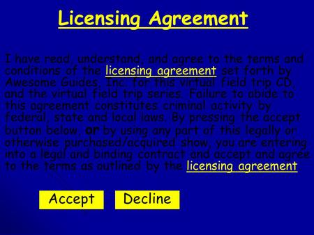 Licensing Agreement I have read, understand, and agree to the terms and conditions of the licensing agreement set forth by Awesome Guides, Inc. for this.