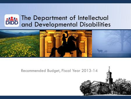 The Department of Intellectual and Developmental Disabilities Recommended Budget, Fiscal Year 2013-14.