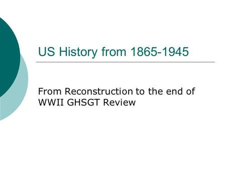 US History from 1865-1945 From Reconstruction to the end of WWII GHSGT Review.