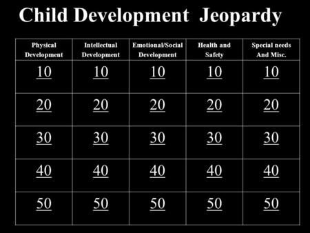 Child Development Jeopardy Physical Development Intellectual Development Emotional/Social Development Health and Safety Special needs And Misc. 10 20.