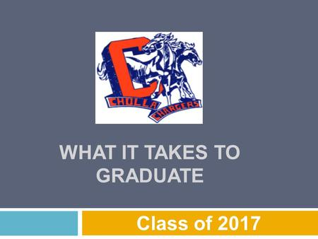 WHAT IT TAKES TO GRADUATE Class of 2017. Graduation Requirements  4.0 – English  4.0 – Math  3.0 – Science  3.0 – Social Studies  1.0 – Phys. Educ.