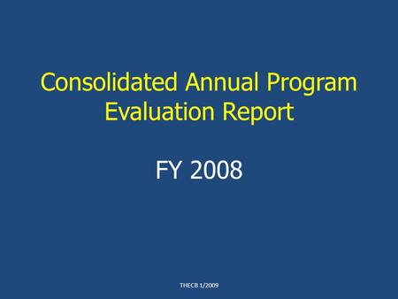 Consolidated Annual Program Evaluation Report FY 2008 THECB 1/2009.