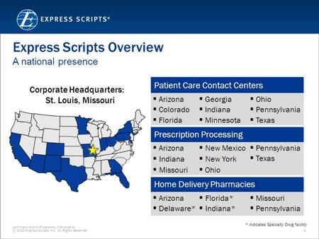 Confidential and Proprietary Information © 2010 Express Scripts, Inc. All Rights Reserved 1 Express Scripts Overview A national presence Patient Care Contact.