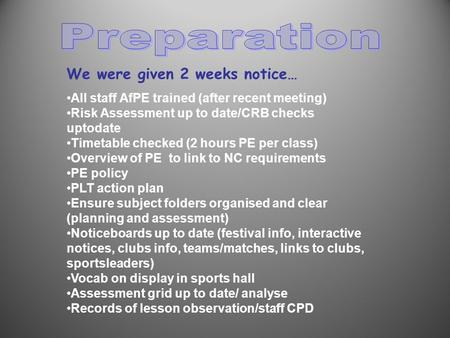 We were given 2 weeks notice… All staff AfPE trained (after recent meeting) Risk Assessment up to date/CRB checks uptodate Timetable checked (2 hours PE.