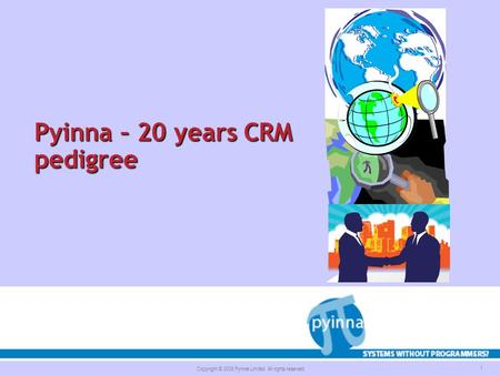 Copyright © 2008 Pyinna Limited. All rights reserved. 1 Pyinna – 20 years CRM pedigree.