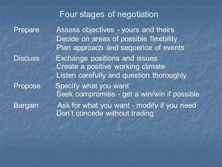Four stages of negotiation Prepare Assess objectives - yours and theirs Decide on areas of possible flexibility Plan approach and sequence of events Discuss.