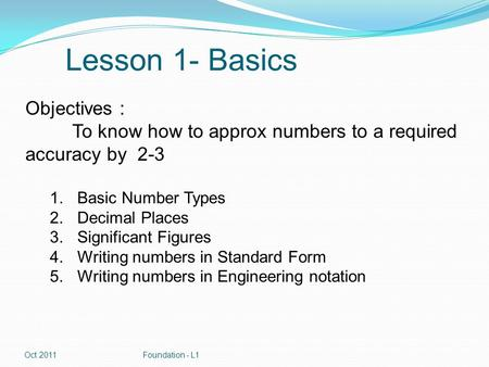 Lesson 1- Basics Objectives : To know how to approx numbers to a required accuracy by 2-3 1.Basic Number Types 2.Decimal Places 3.Significant Figures 4.Writing.
