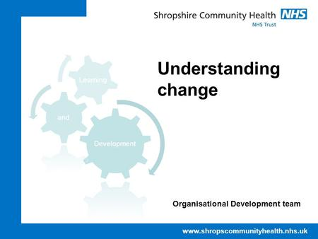 Www.shropscommunityhealth.nhs.uk Understanding change Organisational Development team.