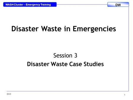 WASH Cluster – Emergency Training DW DW3 1 Session 3 Disaster Waste Case Studies Disaster Waste in Emergencies.