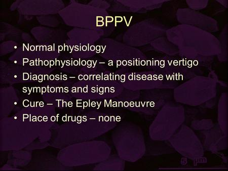 BPPV Normal physiology Pathophysiology – a positioning vertigo Diagnosis – correlating disease with symptoms and signs Cure – The Epley Manoeuvre Place.