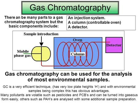 1 Gas Chromatography There an be many parts to a gas chromatography system but the basic components include: An injection system. A column (controllable.