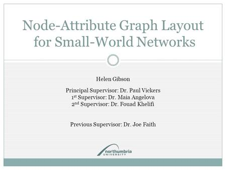 Node-Attribute Graph Layout for Small-World Networks Helen Gibson Principal Supervisor: Dr. Paul Vickers 1 st Supervisor: Dr. Maia Angelova 2 nd Supervisor: