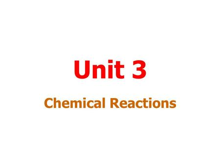 Unit 3 Chemical Reactions Menu The Chemical Industry Hess's Law Equilibrium Acids and Bases Redox Reactions Nuclear Chemistry.