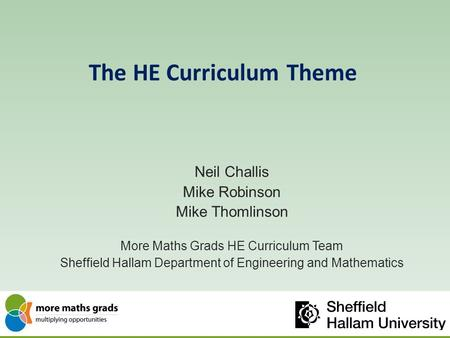 The HE Curriculum Theme Neil Challis Mike Robinson Mike Thomlinson More Maths Grads HE Curriculum Team Sheffield Hallam Department of Engineering and Mathematics.