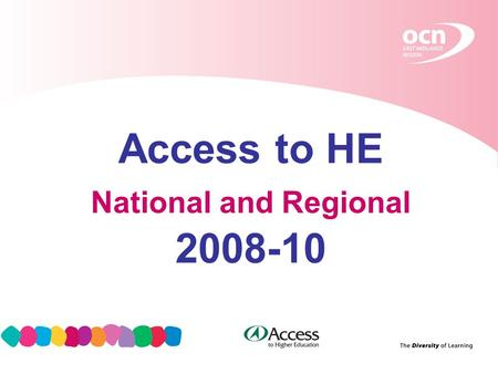 1 Access to HE National and Regional 2008-10. 2 How did we get to this point? 2003: request to QAA to make proposals for developing Access to HE in The.