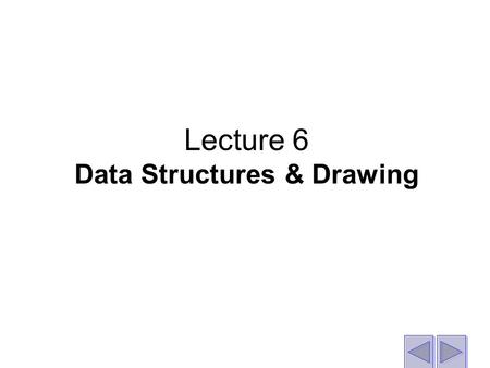 Lecture 6 Data Structures & Drawing. Objective The objective is that you will understand: How to program the generation of 2D and 3D images. How to manipulate.