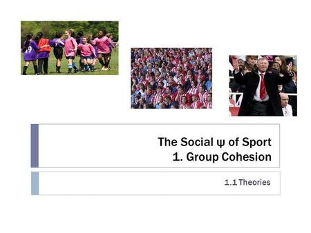 The Social ψ of Sport 1. Group Cohesion 1.1 Theories.