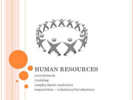 HUMAN RESOURCES recruitment training employment contracts separation – voluntary/involuntary.