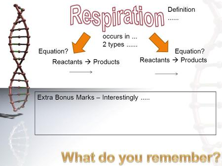Occurs in... 2 types...... Definition...... Equation? Reactants  Products Extra Bonus Marks – Interestingly.....
