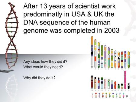 After 13 years of scientist work predominatly in USA & UK the DNA sequence of the human genome was completed in 2003 Any ideas how they did it? What would.