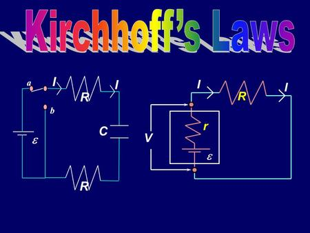 a b  R C I I R  R I I r V Resistors in ParallelParallel a d I I R1R1 R2R2 I1I1 I2I2 V I a d I RV But current through R 1 is not I ! Call it I 1. Similarly,