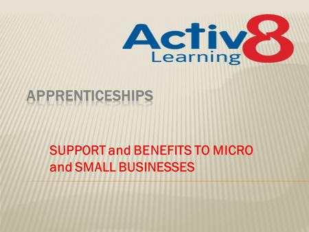SUPPORT and BENEFITS TO MICRO and SMALL BUSINESSES.