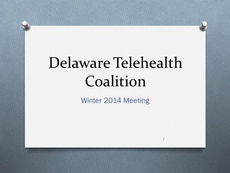 Delaware Telehealth Coalition Winter 2014 Meeting 1.