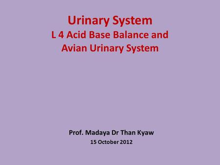 Urinary System L 4 Acid Base Balance and Avian Urinary System Prof. Madaya Dr Than Kyaw 15 October 2012.