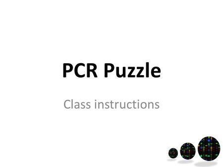 PCR Puzzle Class instructions. Start of lesson Have the following at front of the class: Template.