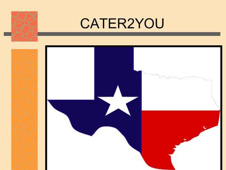 CATER2YOU. Mission statement  To provide a luxury and worry free meal at a low cost to customers in the Dallas/Ft Worth Area at social events, weddings,