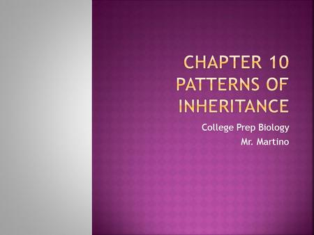 Chapter 10 Patterns of Inheritance