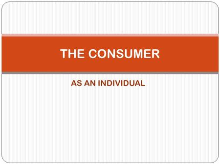 AS AN INDIVIDUAL THE CONSUMER. Discussion on…. 1. Consumer Motivation 2. Personality & Consumer Behaviour 3. Consumer Perception 4. Consumer Learning.