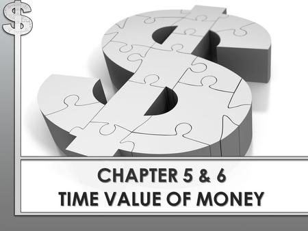 CHAPTER 5 & 6 TIME VALUE OF MONEY. Basic Principle : A dollar received today is worth more than a dollar received in the future. This is due to opportunity.